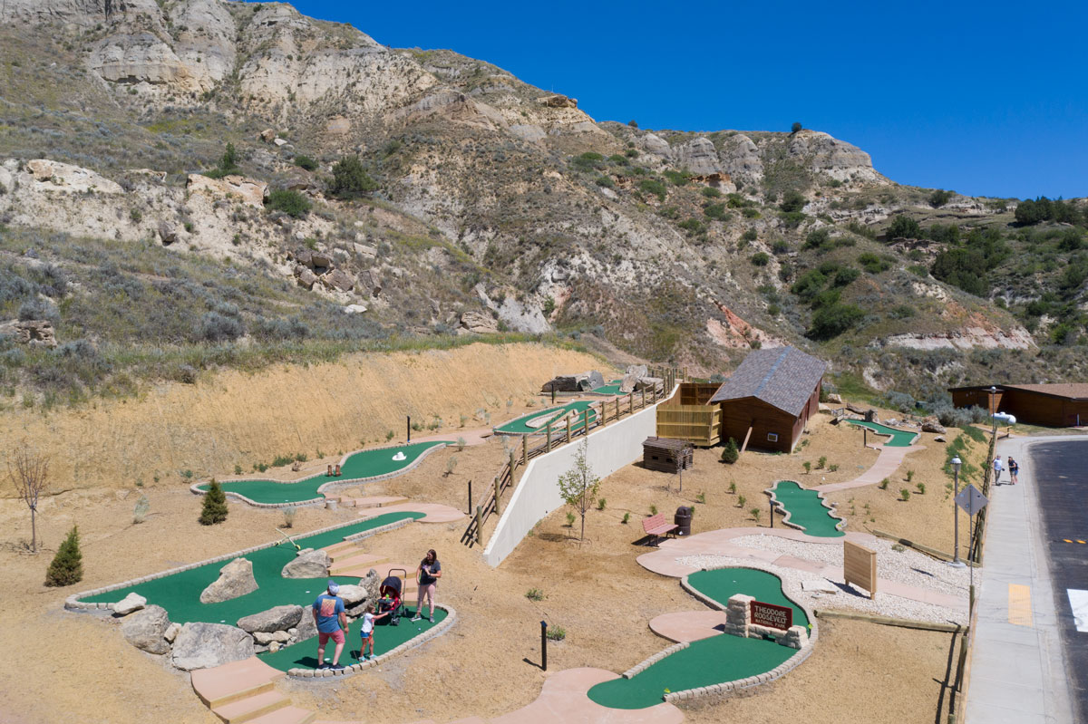 The back 9 of The Little Bully Pulpit concrete Mini Golf Course in Medora, ND built on a hillside