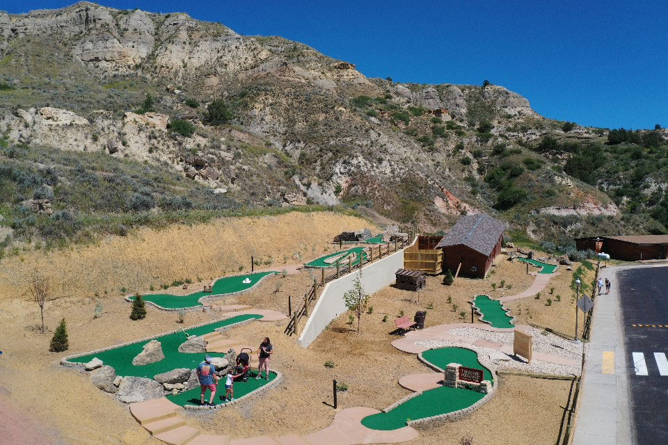Back nine of the Little Bully Pulpit concrete miniature golf course in Medora, ND is built on a Badlands hill
