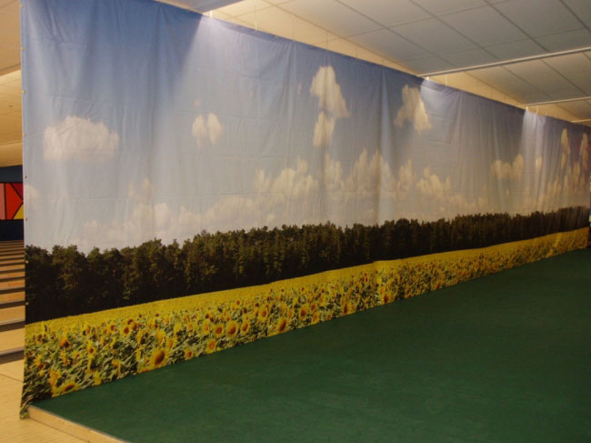 Bowling center solutions at owosso bowling center flower field backdrop