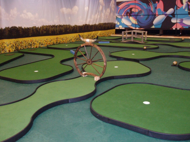 Bowling center solutions at owosso bowling center flower field backdrop and mini golf holes