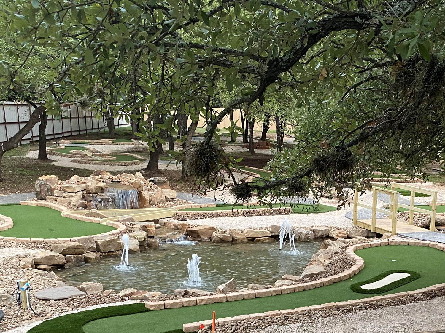 This eco-friendly, tree-friendly mini golf course was designed and built by Adventure Golf & Sports for Cen-Tex Mini Golf