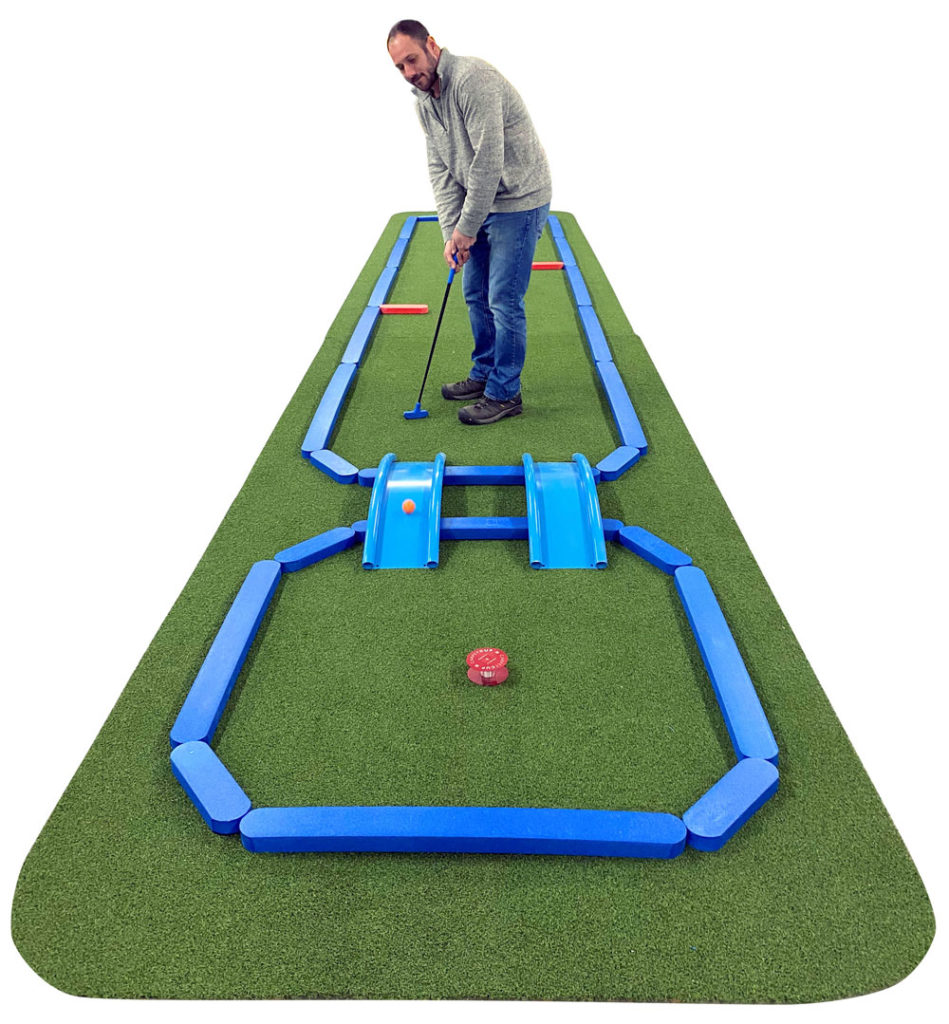 "The AmericanPie™ Mini Golf series from AGS features lots of tricks, geometric edges, portable obstacles and ""Carpet Cups"" in a flexible, colorful retro-style design. Available from one to nine holes, owners like the easy setup, flexible layout and quick disassembly for moving and storing."