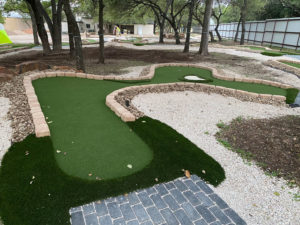 The Modular Advantage Mini Golf system used to build the Cen-Tex course uses flexible panels to adapt to natural topography