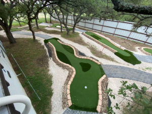 Sloping hills are easily handled with the environmentally friendly AGS Modular Advantage Mini Golf system