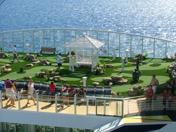 Cruise lines mini golf aerial view of golf course