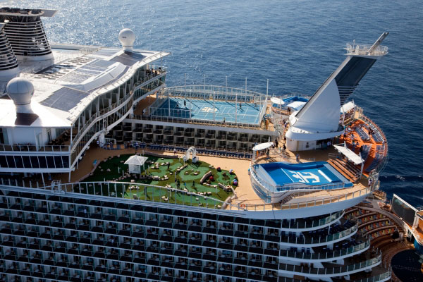 Cruise lines mini golf royal caribbean aerial view
