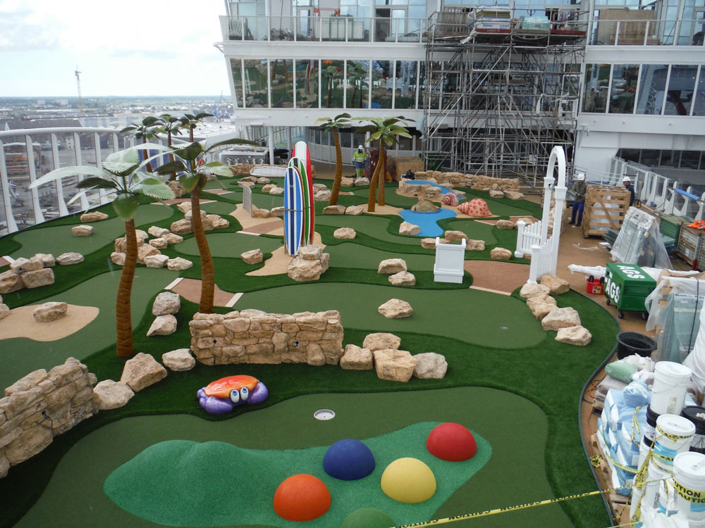 Cruise lines mini golf course with theme elements and obstacles