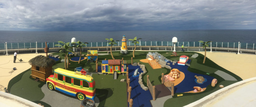 Cruise lines mini golf course with theme elements and custom obstacles