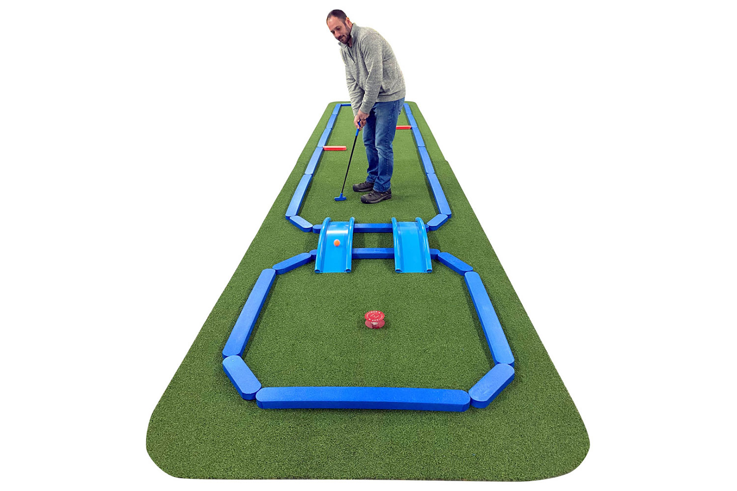 Putting on an AmericanPie™ Mini Golf hole. The faux wood edge system is pinned together with slide-in connector brackets.