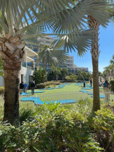 Marriott MiniLinks mini golf course with people playing aerial view