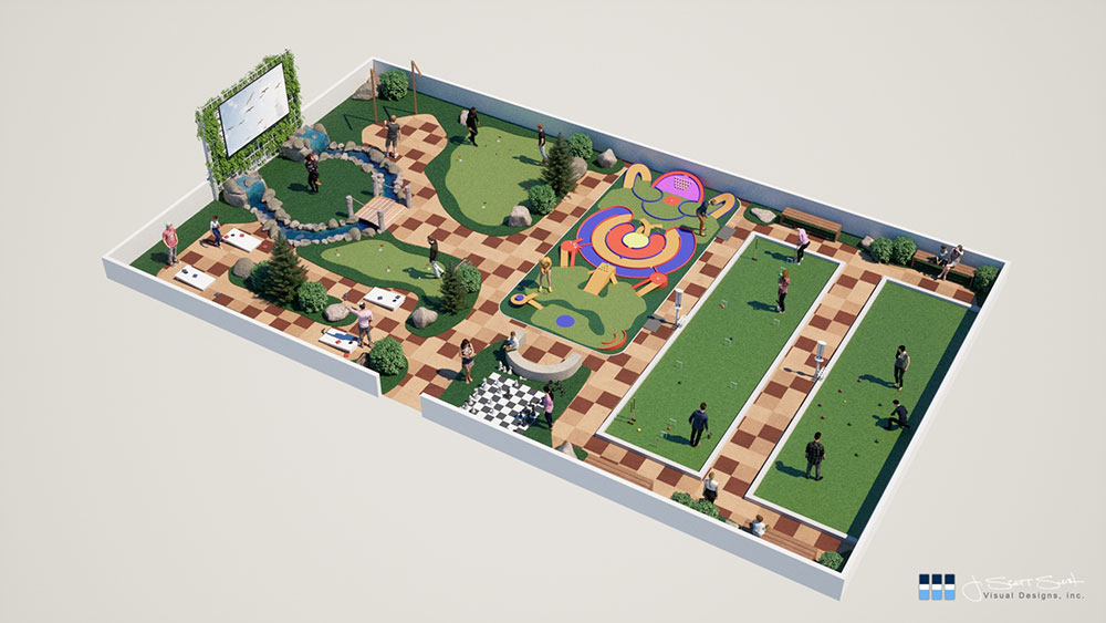 Artist rendering of the GameCourt Promenade™ shows how Basketball courts can be repurposed into a park-like family activity center.