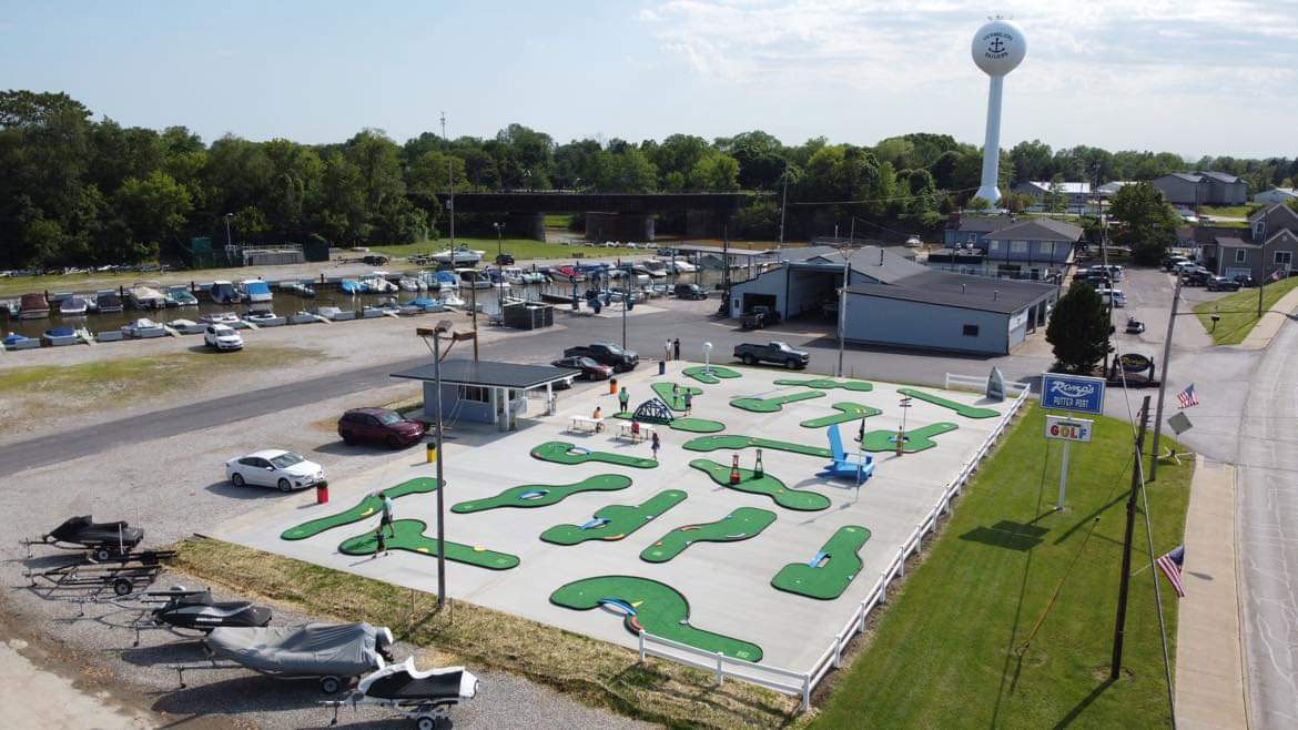 Aerial view of the AGS AnyWhere Links, Jr.® mini golf course at Romp's Putter Port, Vermillion, OH